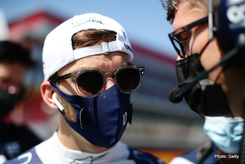 NORTHAMPTON, ENGLAND - JULY 18: Pierre Gasly of France and Scuderia AlphaTauri prepares to drive on the grid before the F1 Grand Prix of Great Britain at Silverstone on July 18, 2021 in Northampton, England. (Photo by Peter Fox/Getty Images) // Getty Images / Red Bull Content Pool  // SI202107180134 // Usage for editorial use only //