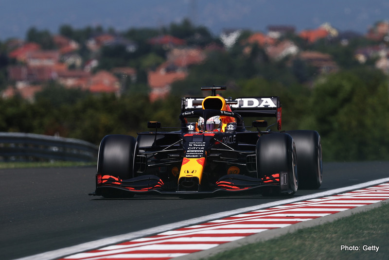 BUDAPEST, HUNGARY - JULY 30: Max Verstappen of the Netherlands driving the (33) Red Bull Racing RB16B Honda during practice ahead of the F1 Grand Prix of Hungary at Hungaroring on July 30, 2021 in Budapest, Hungary. (Photo by Lars Baron/Getty Images) // Getty Images / Red Bull Content Pool // SI202107300136 // Usage for editorial use only //