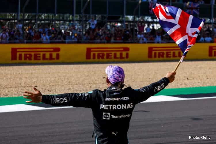 lewis hamilton celebrates british grand prix victory