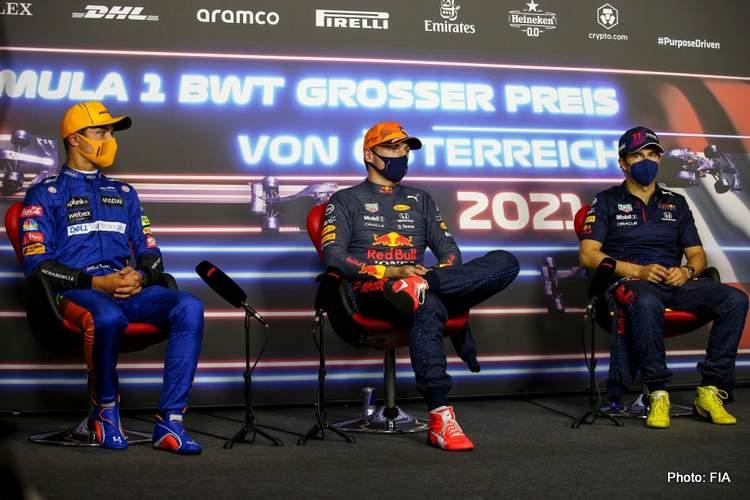 austrian grand prix norris-verstappen-perez-press-conference qualifying