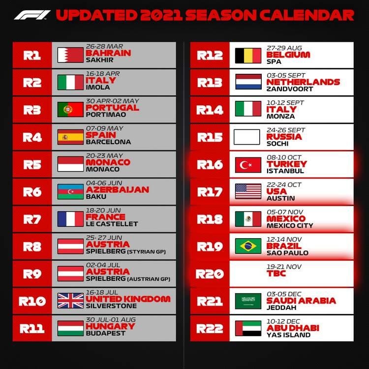 2021 Formula 1 calendar revised latest