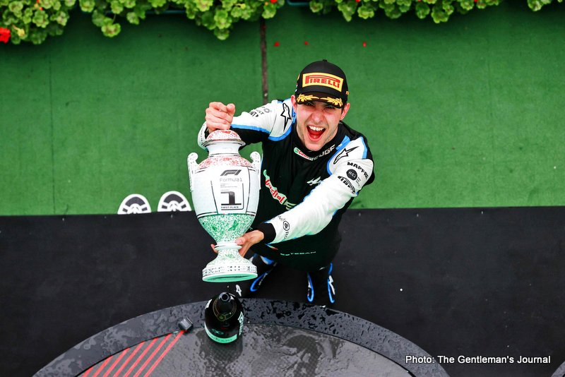 Race winner Esteban Ocon (FRA) Alpine F1 Team celebrates on the podium. Hungarian Grand Prix, Sunday 1st August 2021. Budapest, Hungary.