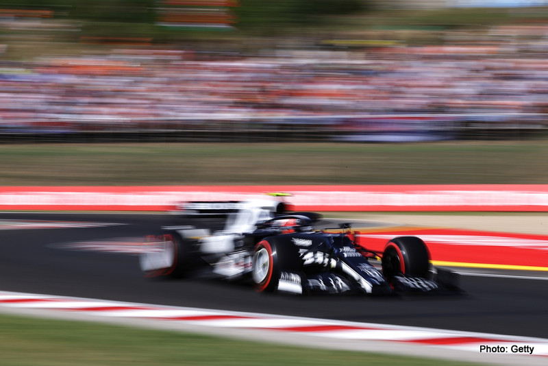 BUDAPEST, HUNGARY - JULY 31: Pierre Gasly of France driving the (10) Scuderia AlphaTauri AT02 Honda during qualifying ahead of the F1 Grand Prix of Hungary at Hungaroring on July 31, 2021 in Budapest, Hungary. (Photo by Lars Baron/Getty Images) // Getty Images / Red Bull Content Pool // SI202107310310 // Usage for editorial use only //
