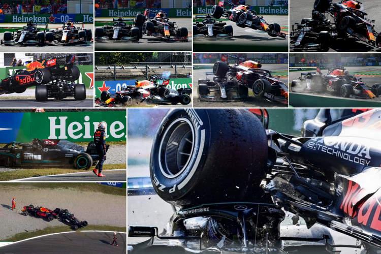 2021 italian grand prix verstappen hamilton crash monza accident montage