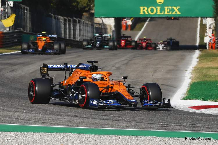 Italian Grand Prix Daniel Ricciardo, McLaren MCL35M, leads Lando Norris, McLaren MCL35M entering a corner