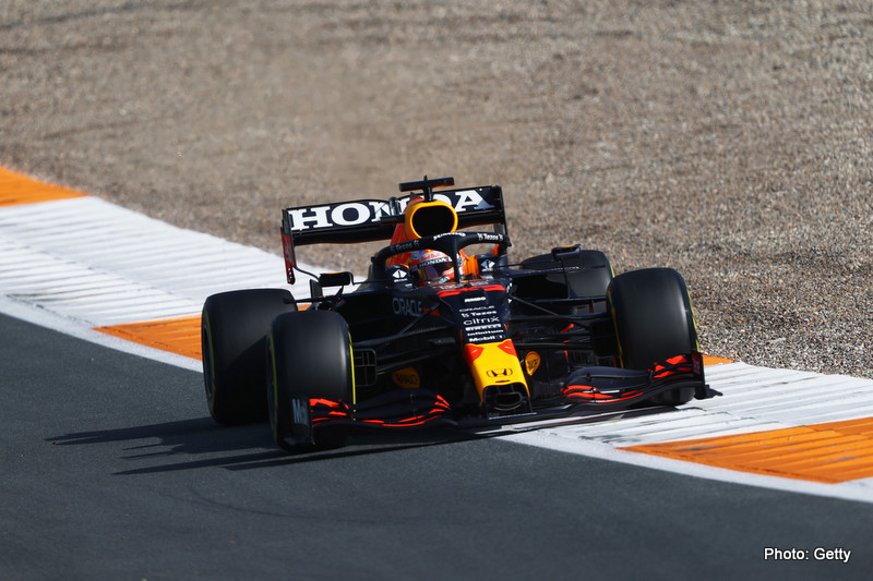 ZANDVOORT, NETHERLANDS - SEPTEMBER 03: Max Verstappen of the Netherlands driving the (33) Red Bull Racing RB16B Honda during practice ahead of the F1 Grand Prix of The Netherlands at Circuit Zandvoort on September 03, 2021 in Zandvoort, Netherlands. (Photo by Bryn Lennon/Getty Images) // Getty Images / Red Bull Content Pool // SI202109030436 // Usage for editorial use only //