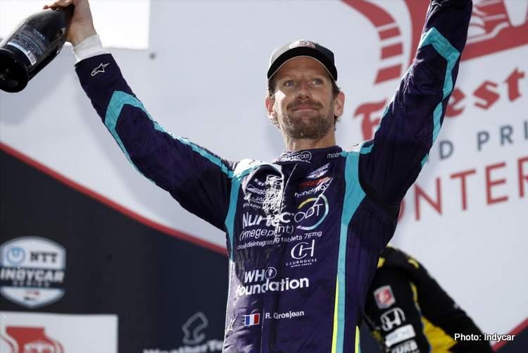 Grosjean indycar podium laguna