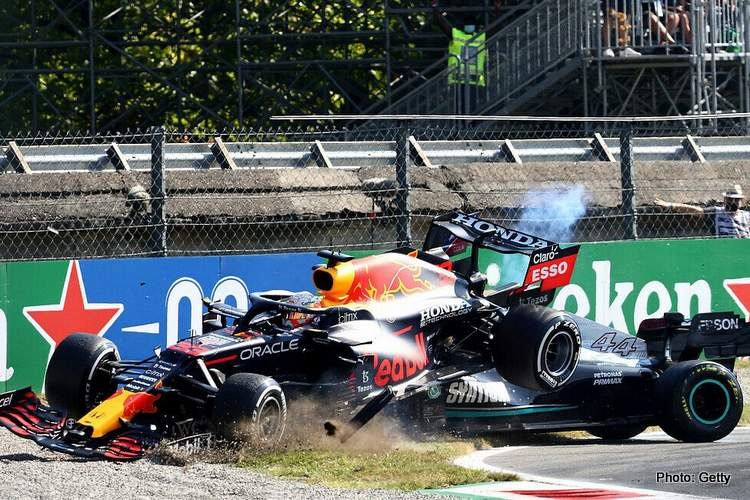 hamilton verstappen crash monza italian grand prix