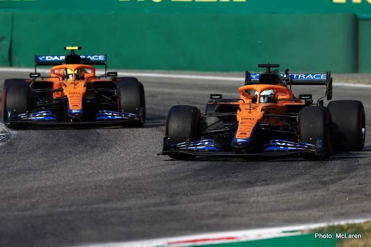 ricciardo norris mclaren winner monza 2021 italian grand prix