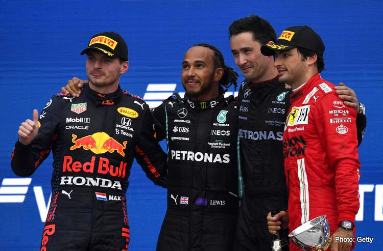 sochi podium hamilton verstappen sainz 2021 Russian Grand Prix top three