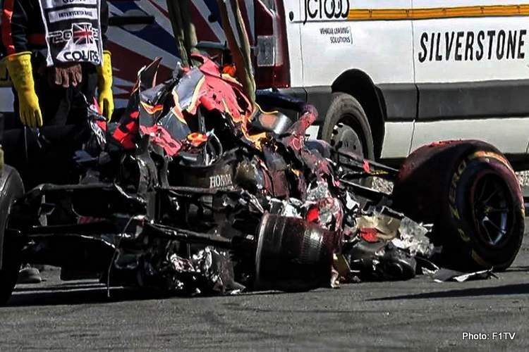 verstappen red bull crash silverstone engine Honda