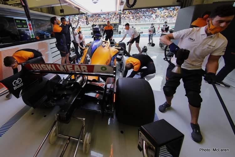 Daniel Ricciardo, McLaren MCL35M, in the garage