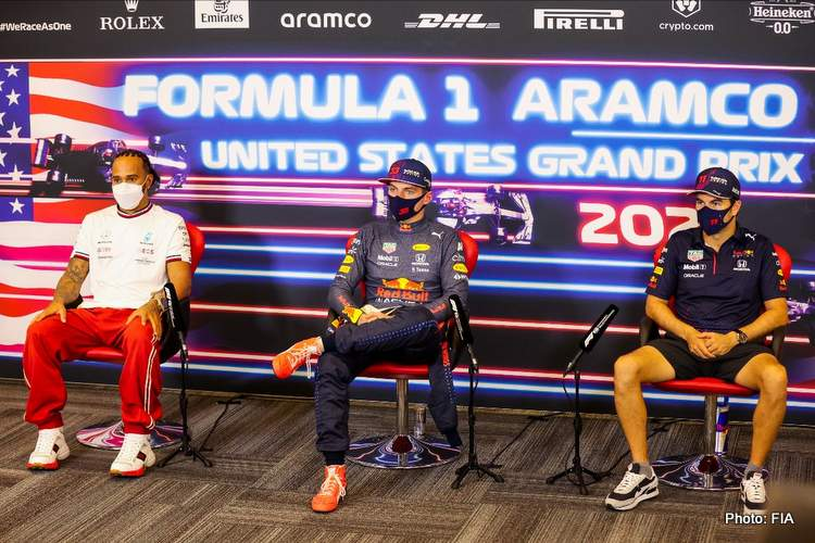 The top three qualifiers for the 2021 US GP in Austin speak to the media