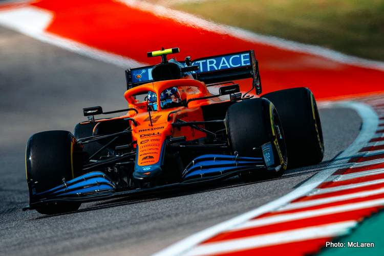 Lando Norris discusses FP1 and FP2 for the 2021 US Grand Prix in Austin this weekend