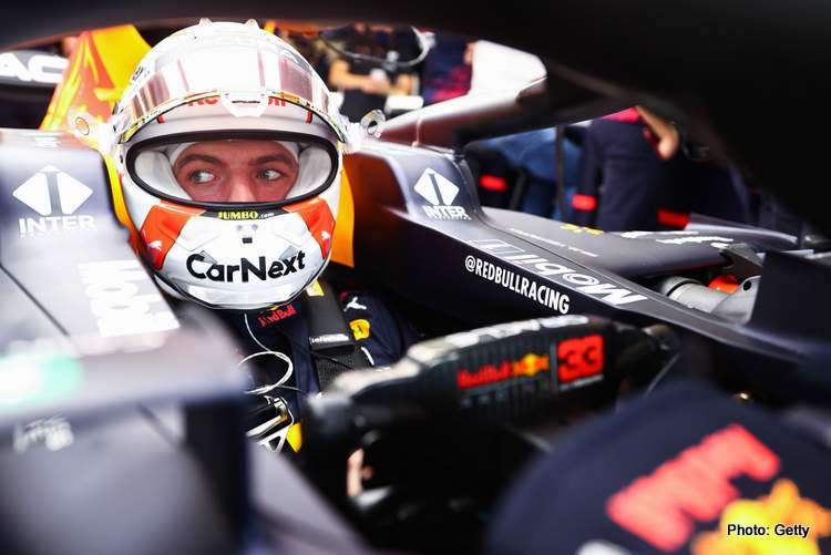 AUSTIN, TEXAS - OCTOBER 22: Max Verstappen of Netherlands and Red Bull Racing prepares to drive in the garage during practice ahead of the F1 Grand Prix of USA at Circuit of The Americas on October 22, 2021 in Austin, Texas. (Photo by Mark Thompson/Getty Images)
