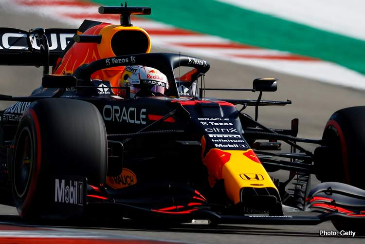 qualifying AUSTIN, TEXAS - OCTOBER 22: Max Verstappen of the Netherlands driving the (33) Red Bull Racing RB16B Honda during practice ahead of the F1 Grand Prix of USA at Circuit of The Americas on October 22, 2021 in Austin, Texas. (Photo by Jared C. Tilton/Getty Images)