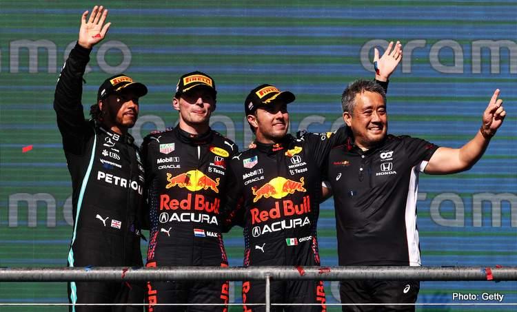 2021 United States Grand Prix podium before press conference
